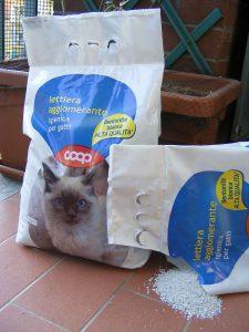 Bentonietkorrels voor in de kattenbak. Meestal 100% natriumbentoniet omdat dit het meest absorberend is. F Ceragioli via Public domain.